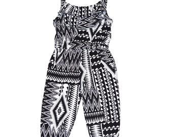 18d7d638131 Little Girls Adjustable Tie Back Flouncy Black and White Zig Zag Jumpsuit
