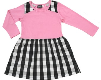 49795674cd8 Girls Long Sleeve Pink Fit and Flare Dress    Black and White Skirt and  Shoulder Yokes