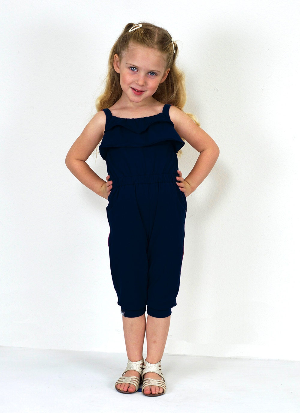 36211d6a9e8 Girls Back Tie Adjustable Flouncy Navy Jumpsuit with Elastic