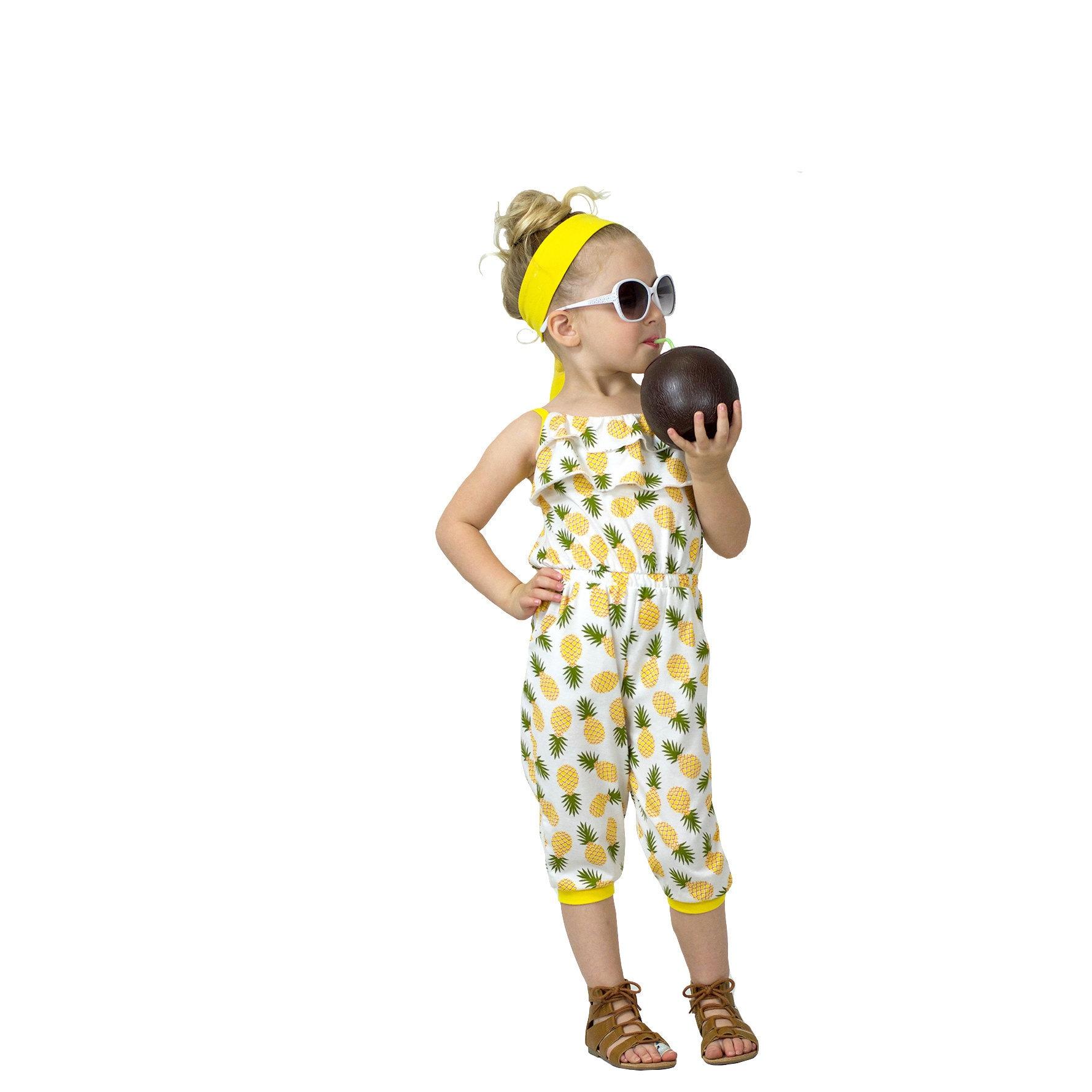 c3778c607ee Girls Back Tie Adjustable Flouncy Pineapple Jumpsuit Ruffle
