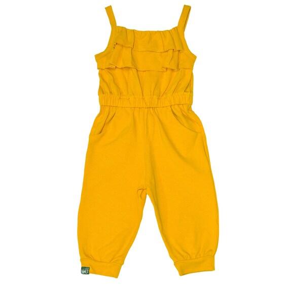 21f1b0e660e Little Girls Back Tie Adjustable Flouncy Gold Ruffle Jumpsuit