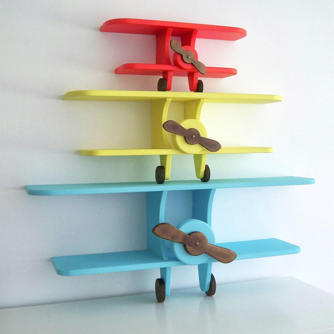 Airplane Shelf Wooden Airplane Biplane Book Shelf DIY baby and child room decoration, wall decoration