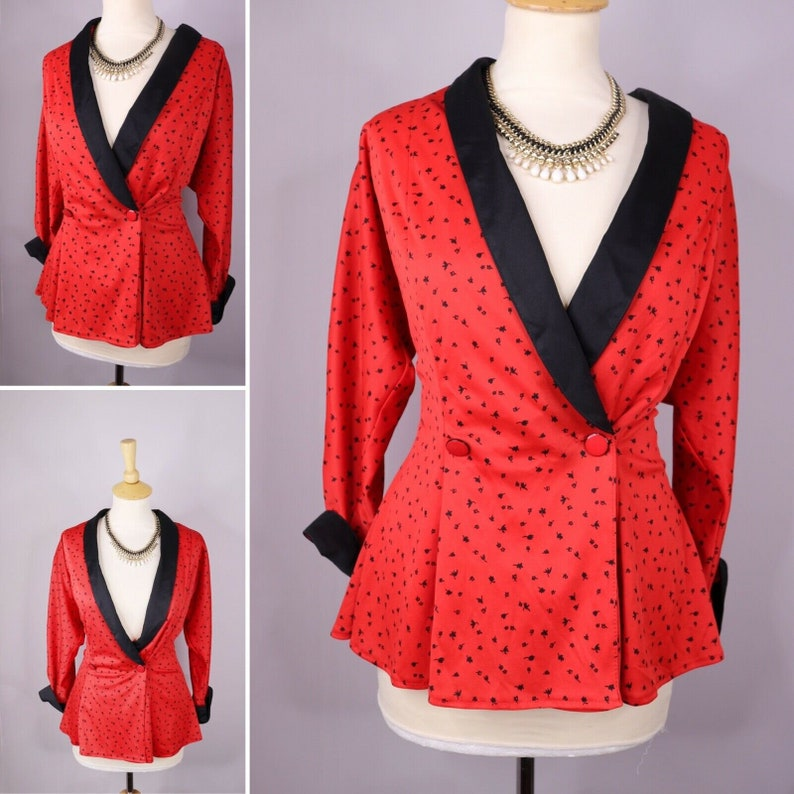 Vintage Retro 80/'s Red Blazer top Blouse size 10 Smart Pin Up Rockabilly