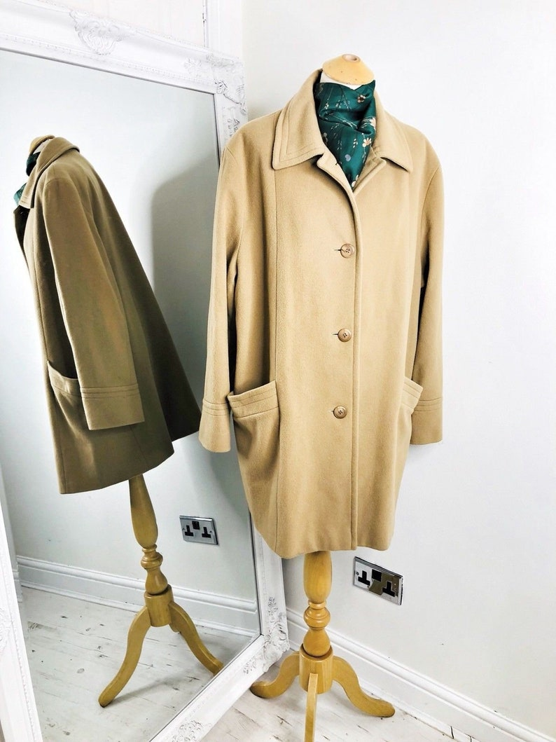 a8c370ce6 1980's Camel Coat, Warm Vintage Coat, Single Breasted Trench Coat, Wool  Cashmere Coat, Long Winter Coat sz 18 by Admyra