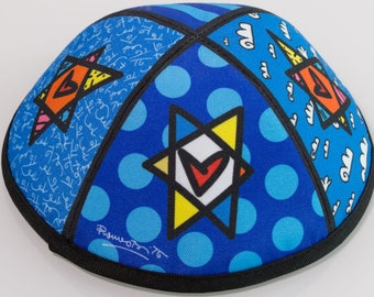 Romero Britto Designed and Autographed Kippah
