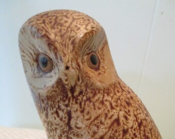 PIGEON FORGE POTTERY - Spotted Owl Figure - Signed D. Gerguson