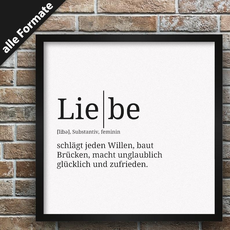 Definition: Liebe Format wählbar Premium Spruch-Poster für
