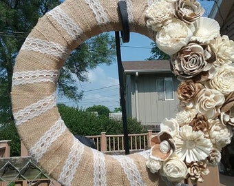 Lace and Burlap Wreath