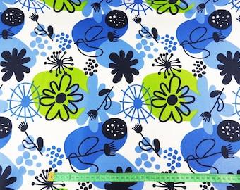 Waterproof fabric - Blue green flowers