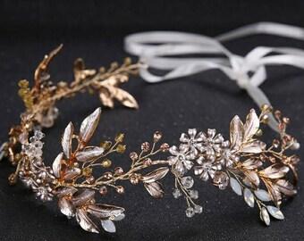 5c096fb8a8 Blush rose gold bridal hair vine- Wedding headpiece - Wedding hair  accessories - Bridal Hair pieces-Bridal hair vine-Gold wedding hair vine