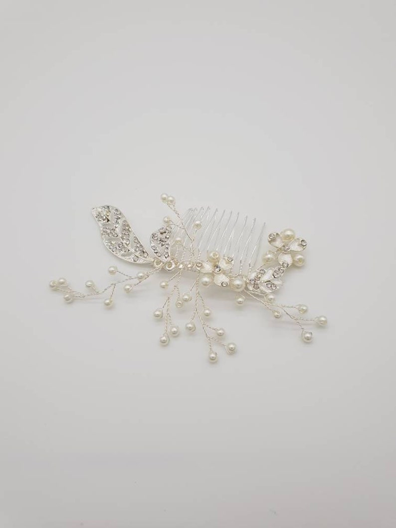 Amy Rose gold flower wedding hair accessories-Rose gold bridesmaid head pieces-Silver wedding hair pieces-Silver bridal hair accessories
