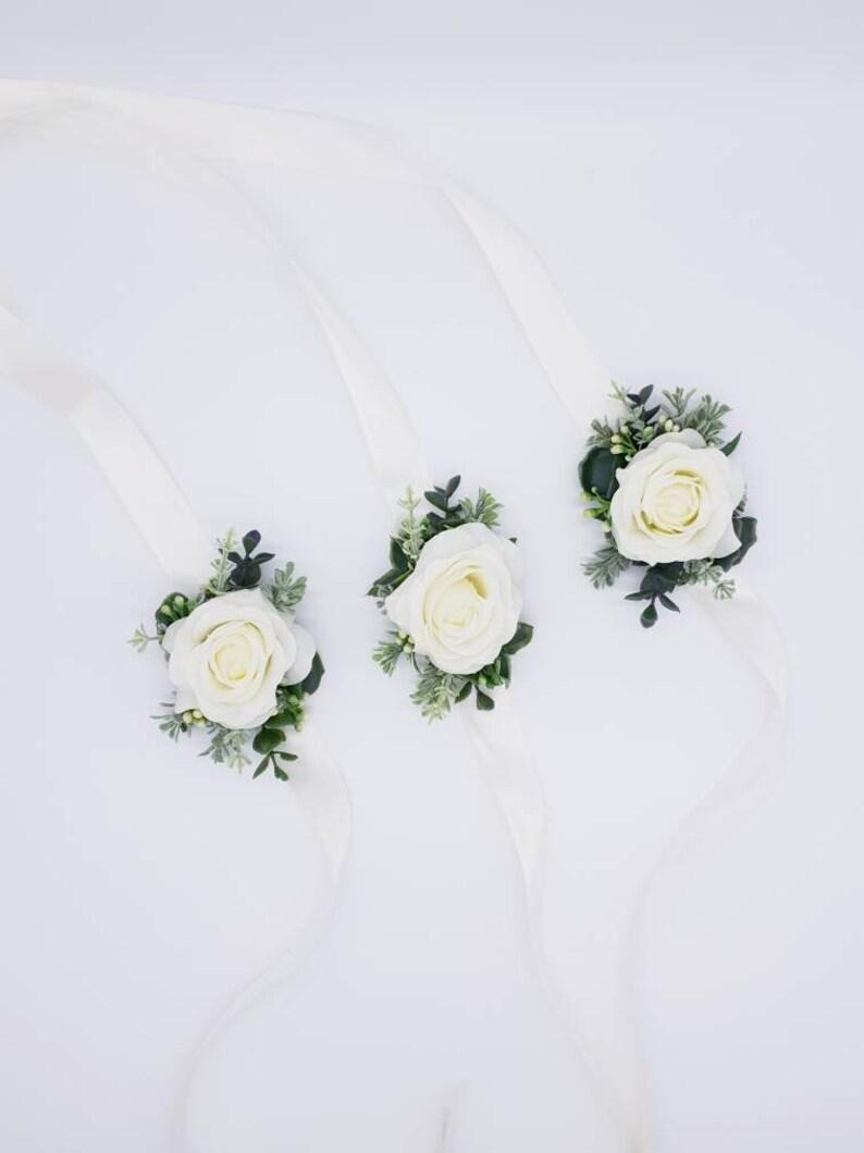 Real touch rose artificial wrist corsage-Artificial ladies corsages-Corsages-Boutonniere-Flower buttonholes-Silk floral corsages-Corsages