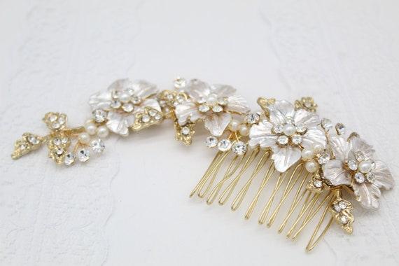 Jasmine Blush Gold Wedding Flower Hair Comb Hair Vine Rose Etsy