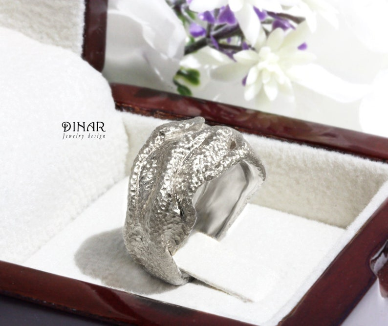 c4e2b0ff5d049 Sterling silver thick chunky unique wide big wedding ring, shiny textured  large modern women's band, contemporary heavy silver ring by DINAR