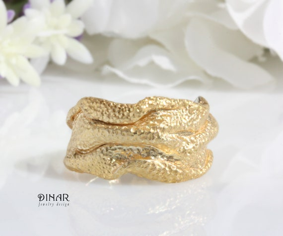 Women heavy gold wedding ring Unique Solid Gold Wedding Ring Wide wedding ring