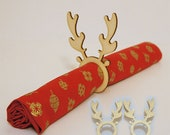 Christmas napkin rings - Reindeer, Antlers - Wooden Pack of 6 8 10 12
