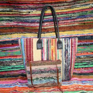 Chindi Bag Handmade Woven Artisan Shopping Bag made from Recycled Fabric