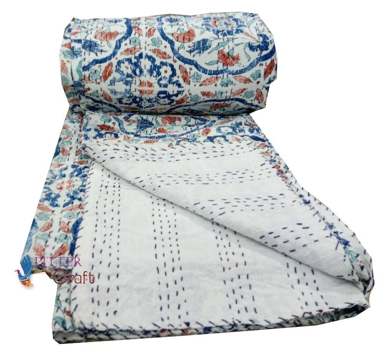 handmade kantha bedding kantha quilt bed cover new printed blanket quilt hand block print bed cover kantha