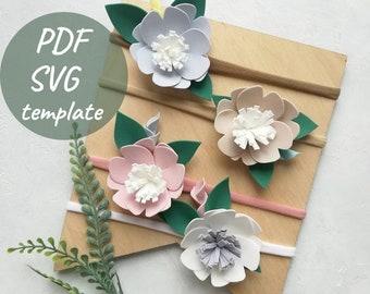 Headband pattern - Felt flower template - Felt flower SVG, PDF cut files - Baby girl headband diy - Baby bow template - Flower headband svg