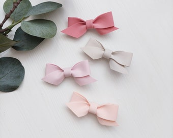 Set of 4 hair bows clips for baby girls - Baby girl clips - Baby girl bows - Hair bows set - Hair clips with bows - Toddler hair bows