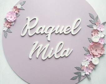 Round nursery sign - Wooden sign - Name announcement sign - Nursery baby name plaque -  Personalized 1st birthday backdrop - Girl door sign