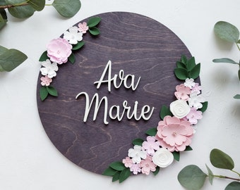 Round name sign with flowers for girl nursery - Circle baby name sign - Floral baby name backgdrop - Round name plaque - Personalized sign