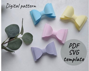 Simple hair bow SVG, PDF, PNG template - Felt bow pattern - Hair bow svg - Baby girl bow template for hand and plotter cutting - Kid bow diy