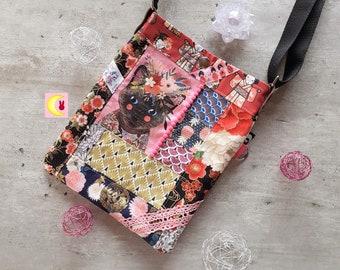 Handbag worn in shoulder strap Kitoune Pat'chat Siamese / Burma Medium model carry the essential Japanese inspiration Japan