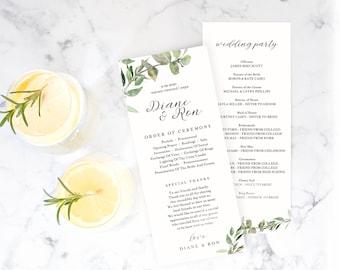 Catholic Wedding Program Greenery Wedding Program Book Template TEMPLETT PDF Jpeg Download Greenery#sd002prb Printable Wedding Program