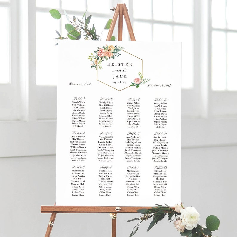 Blush Flower Wedding Seating Chart Template Seating Chart Printable Seating Board Printable Templett Pdf Jpeg Download Sd003bse