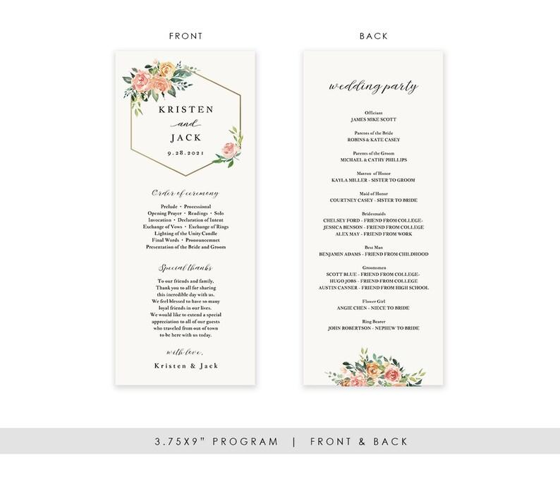 Ceremony Printable Template TEMPLETT PDF Jpeg Watercolor #sd003pr Modern Floral Wedding Program Template Printable Wedding Program