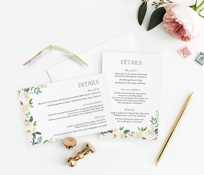 graphic relating to Printable Pottery Templates called Rustic Bouquets Info Card Template, Printable Facts Reception Lodging Registry Guidance wishing properly Card, Gold Body #sb004dc