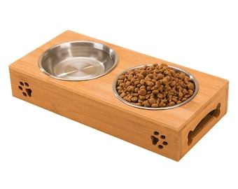 New 2018 Eco Friendly Bamboo stainless steel double bowl feeding tray