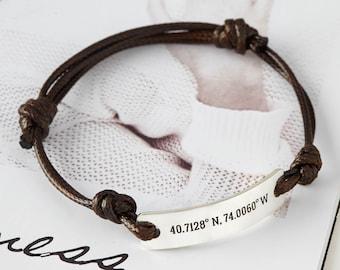 b132ecf06cfa9 Bar leather bracelet   Etsy