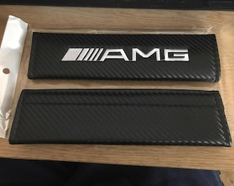 AMG Mercedes Benz AMG Seat Belt Cover Pads x2 Carbon