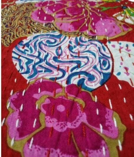 """2 pièce un lot indien fait à la main nouveau motif Kantha quilt, Kantha couvre-lit, couvre-lit, couverture, jeter avec lisse Touch Queen taille 108 """"90"""""""
