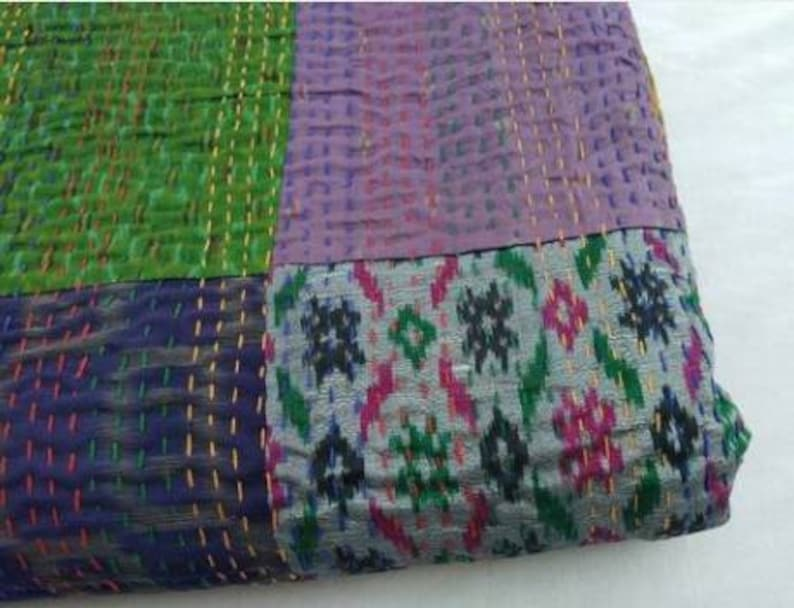 A Beautiful Indian Handmade Kantha Quilt,Pure Cotton Hand Stitched Kantha Blanket HandBlock Kantha BedCover Perfect for Bed Multipe\u00a0