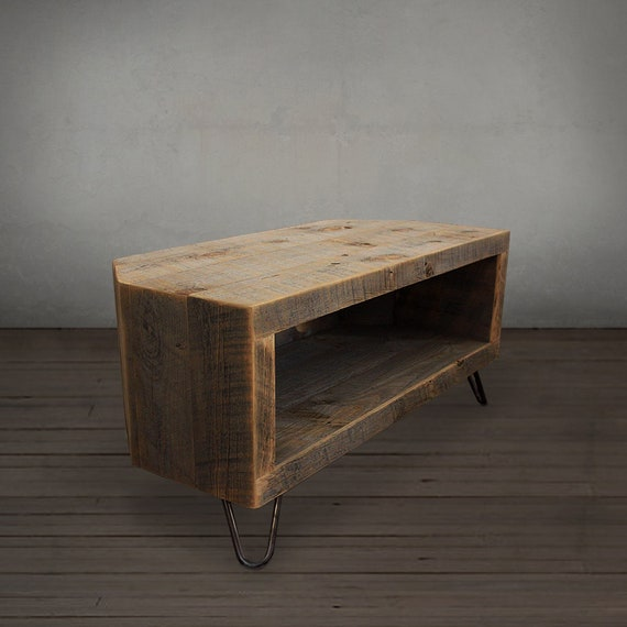 Reclaimed Wood Media Console Tv Stand Etsy