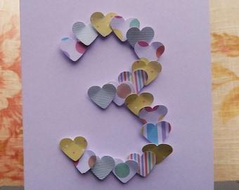Handmade Heart Number Cards