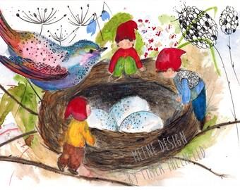 Magie des oiseaux * illustration de la carte postale