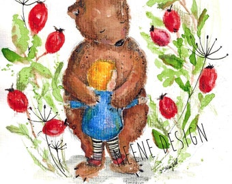 Garder à l'églantier * illustration de la carte postale