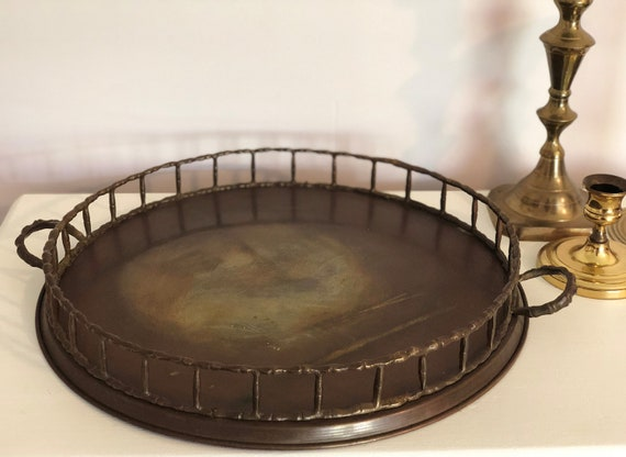Brass Vintage Decorative Tray With Bamboo Like Patterned Trim