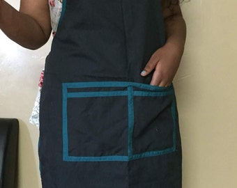 Navy Blue and Black Apron