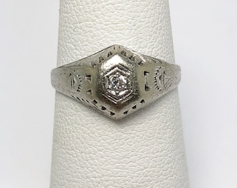Petite Art Deco Diamond 14k Engagement Ring (773D)