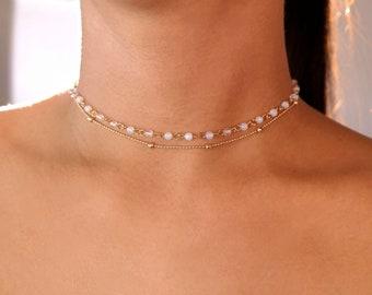 4 STYLES / opal beaded choker / opal choker / dainty opal choker / opalite stone necklace / opal bead / opal stone choker / opalite choker