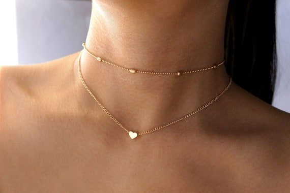 Heart Choker Necklace in Gold