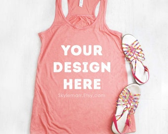 Tank Top Mockup - Bella Canvas Flowy Racerback 8800 Sunset Coral Peach Orange | Tank Top Mock Up | Tank Top Flat Lay