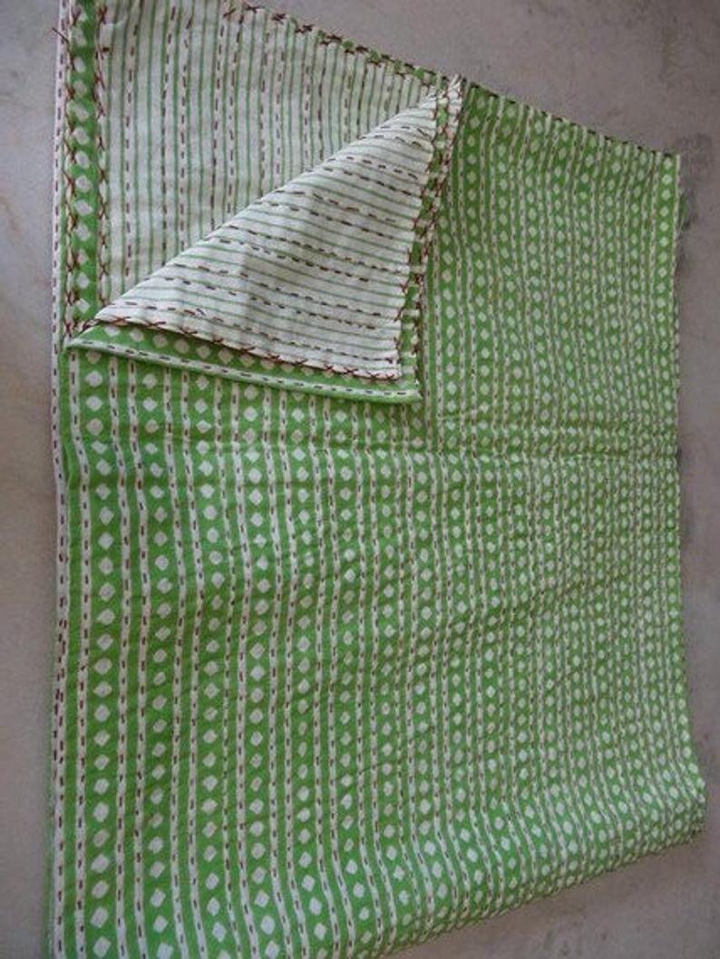 Block print padded quilt original handmade indian patchwork kantha quilt Kantha Bed Cover Kantha Blanket hand stitched quilt pure cotton