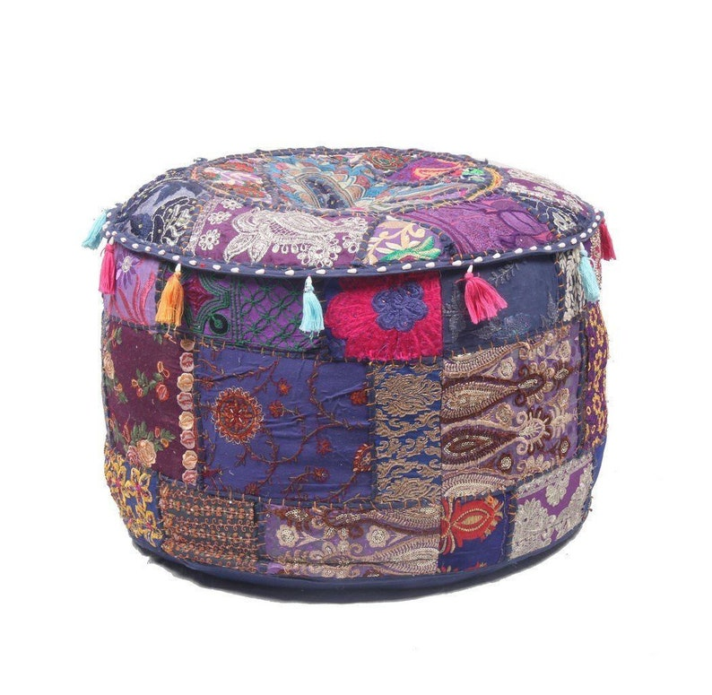 Handmade Bohemian Hand Embroidered Pouf Cover Ethnic Foot Stool Cover Patchwork Boho Ottomans Pouf Cover Pouffe Footstool Home Decor Art