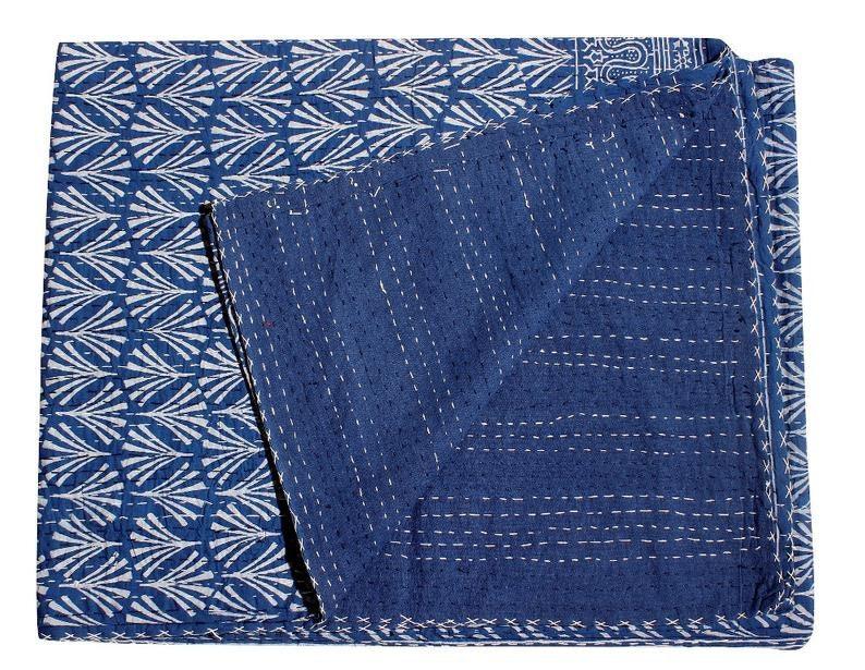 Indian Block Printed Kantha Quilts Indian Handmade Vintage Throw Bedcover Bedspread Gudri